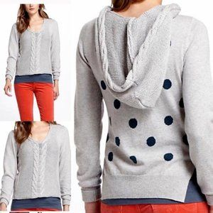 Anthropologie Cable Knit Polka Dot Hoodie Sweater